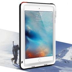 LOVE MEI Powerful defender védő tok / hátlap - ütésálló, Gorilla Glass üveg, fém keret, szilikon betétes - FEHÉR - APPLE iPad Mini 4 - GYÁRI