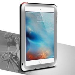 LOVE MEI Powerful defender védő tok / hátlap - ütésálló, Gorilla Glass üveg, fém keret, szilikon betétes - EZÜST - APPLE iPad Mini 4 - GYÁRI