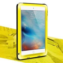 LOVE MEI Powerful defender védő tok / hátlap - ütésálló, Gorilla Glass üveg, fém keret, szilikon betétes - SÁRGA - APPLE iPad Mini 4 - GYÁRI