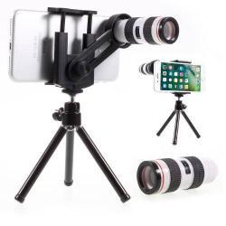 UNIVERZÁLIS kameralencse 12X optikai zoommal, mini tripod állvánnyal, teleszkóp - tartóbölcsõ 55-85mm - FEKETE