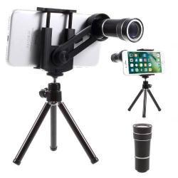 UNIVERZÁLIS kameralencse 10X optikai zoommal, mini tripod állvánnyal, teleszkóp - tartóbölcsõ 55-85mm - FEKETE