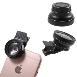 UNIVERZÁLIS csipeszes kameralencse - 2 részes, 1 makró lencse, 1 széles látószögû, 37mm 0.45X - FEKETE