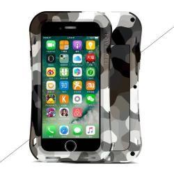 LOVE MEI Powerful defender védő tok / hátlap - ütésálló, Gorilla Glass üveg, fém keret, szilikon betétes - TEREPMINTÁS SZÜRKE - APPLE iPhone 7 (4.7) / APPLE iPhone 8 (4.7) - GYÁRI