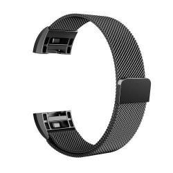 Fém okosóra szíj - FEKETE - Fitbit Charge 2
