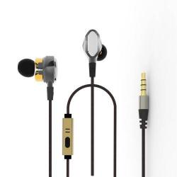 Univerzális sztereo headset - dupla membránnal, 3,5mm jack csatlakozó, felvevő gombos - ARANY