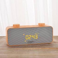 HORDOZHATÓ SZTEREO BLUETOOTH HANGSZÓRÓ - FM rádió, beépített mikrofon, TF kártyaolvasó, ébresztõóra funkció, 3,5mm jack aljzat - BARNA
