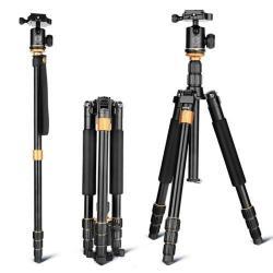 Hordozható univerzális fotóállvány, Tripod - 4 szekciós összecsukható lábakkal, gömbcsukló DSLR készülékekhez - FEKETE