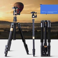 Hordozható univerzális fotóállvány, Tripod, Monopod - összecsukható lábakkal, gömbcsukló DSLR készülékekhez - FEKETE