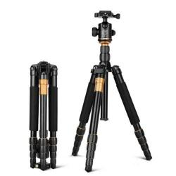 Hordozható univerzális fotóállvány, Tripod - 5 szekciós összecsukható lábakkal, gömbcsukló DSLR készülékekhez - FEKETE