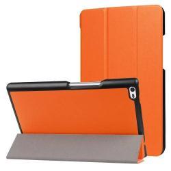 Notesz / mappa tok - NARANCS - oldalra nyíló flip cover, TRIFOLD asztali tartó funkciós, mágneses záródás - Lenovo Tab 4 8