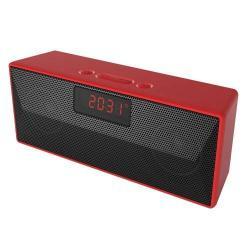 Hordozható bluetooth hangszóró - PIROS - v4.2, Digitális óra, FM rádió, TF-kártyaolvasás, AUX bemenet, ébresztő funkció