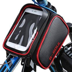 UNIVERZÁLIS biciklis / kerékpáros tartó konzol mobiltelefon készülékekhez - 180 x 110 x 165 mm-es bölcső, cseppálló védő tokos kialakítás - PIROS