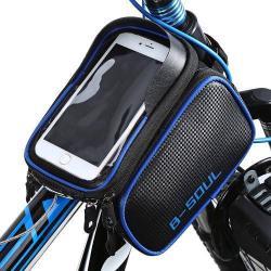 UNIVERZÁLIS biciklis / kerékpáros tartó konzol mobiltelefon készülékekhez - 180 x 110 x 165 mm-es bölcsõ, cseppálló védõ tokos kialakítás - KÉK
