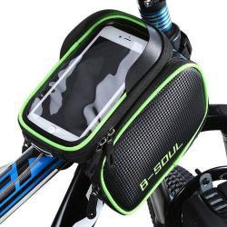 UNIVERZÁLIS biciklis / kerékpáros tartó konzol mobiltelefon készülékekhez - 180 x 110 x 165 mm-es bölcső, cseppálló védő tokos kialakítás - ZÖLD