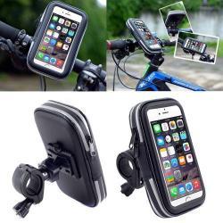 UNIVERZÁLIS biciklis / kerékpáros tartó konzol mobiltelefon készülékekhez - 152 x 75 mm-es bölcsõ, cseppálló védõ tokos kialakítás - FEKETE