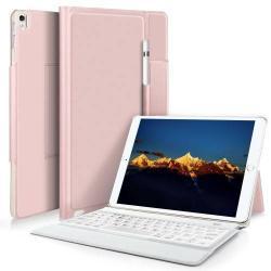 Notesz / mappa tok - ROSE GOLD - asztali állvány funkció, beépített bluetooth billentyűzet, ON/OFF funkciós - APPLE iPad Pro 10.5 (2017)
