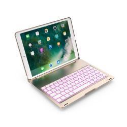 SLIM notesz / mappa tok - ARANY - alumínium ötvözet, beépített ANGOL nyelvű bluetooth billentyűzet, asztali állvány - APPLE iPad Pro 10.5 (2017)