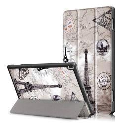 Notesz / mappa tok - oldalra nyíló flip cover, TRIFOLD asztali tartó funkció, mágneses záródás - EIFFEL TORONY MINTÁS - Lenovo Tab 4 10