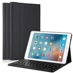Flip / mappa bőrtok - bluetooth billentyűzet, ANGOL KIOSZTÁS! - APPLE iPad 9.7 (2017) (5. GENERÁCIÓS) / APPLE iPad 9.7 (2018) - FEKETE