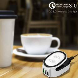 QI vezeték nélküli töltõállomás + 3 USB port - QC 3.0 Quick Charge támogatás - QI 5V/1A, QC3.0 3.6V-6.5V/3A, 6.5V-9V/2A, 9V-12V/1.5A, 2x2.4A USB - FEHÉR
