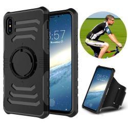 OTT! SHOCK SPORT műanyag védő tok / hátlap - FEKETE - szilikon betétes, sport karpánttal - APPLE iPhone X / APPLE iPhone XS