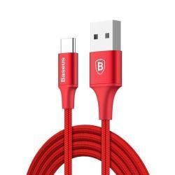 BASEUS adatátviteli kábel / USB töltő - USB 3.1 Type C, 2A, 2m, VILÁGÍT! - PIROS - GYÁRI