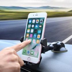 Autós tartó / állvány - FEKETE - 360°-ban forgatható, 55-90mm-ig állítható bölcsõvel, tapadókorongos, szélvédõre vagy mûszerfalra helyezhetõ