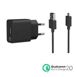 SONY UCH10 hálózati töltõ USB aljzattal - FEKETE - 5V / 1800mA, Quick Charge 2.0: 9V / 1700mA, 12V / 1275mA, UCB11 microUSB kábel - GYÁRI