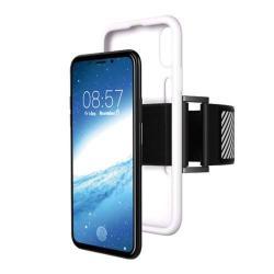 Szilikon védő tok / hátlap - Sport karpánt - FEHÉR - APPLE iPhone X / APPLE iPhone XS