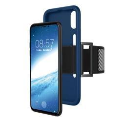 Szilikon védő tok / hátlap - Sport karpánt - SÖTÉTKÉK - APPLE iPhone X / APPLE iPhone XS