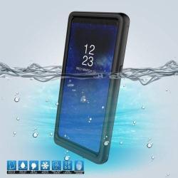 Vízhatlan / vízálló tok - 10m-ig és 24 óráig vízálló, por, kosz, hó ellen is véd! - FEKETE - SAMSUNG SM-N950F Galaxy Note8