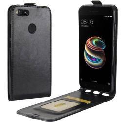 SLIM FLIP tok - FEKETE - lefelé nyíló, rejtett mágneses záródás, szilikon belsõ, bankkártya tartó, elõlapi hangszóró nyílás - Xiaomi Mi 5X / Xiaomi Mi A1