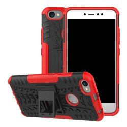 OTT! VROOM műanyag védő tok / hátlap - PIROS - AUTÓGUMI MINTÁS - szilikon betétes, asztali tartó funkciós, ERŐS VÉDELEM! - Xiaomi Redmi Note 5A Prime / Xiaomi Redmi Y1