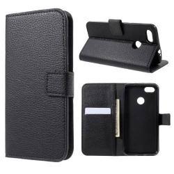 Wallet notesz / flip tok - FEKETE - oldalra nyíló, rejtett mágneses, álló, asztali tartó funkció, bankkártya tartó, szilikon belsõ - HUAWEI Enjoy 7 / HUAWEI Y6 Pro (2017) / HUAWEI P9 lite mini