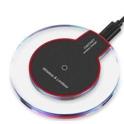 QI Wireless hálózati töltõ állomás vezeték nélküli töléshez - fogadóegység nélkül!, kimenet 5V / 1000 mAh - FEKETE / PIROS
