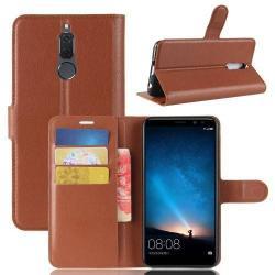 WALLET notesz tok / flip tok - BARNA - asztali tartó funkciós, oldalra nyíló, rejtett mágneses záródás, bankkártyatartó zseb, szilikon belső - HUAWEI Mate 10 Lite / HUAWEI nova 2i / HUAWEI Honor 9i / HUAWEI Maimang 6
