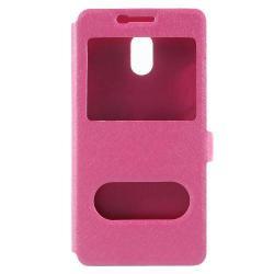 Műanyag védő tok / hátlap - RÓZSASZÍN - oldalra nyíló s-view cover flip, asztali tartó funkció, mágneses záródás, hívásfelvétel - Meizu M6