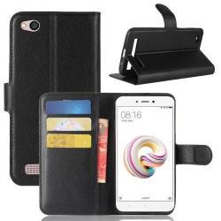 WALLET notesz tok / flip tok - FEKETE - asztali tartó funkciós, oldalra nyíló, rejtett mágneses záródás, bankkártyatartó zseb, szilikon belső - Xiaomi Redmi 5A