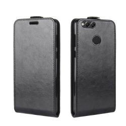 SLIM FLIP tok - FEKETE - lefelé nyíló, rejtett mágneses záródás, szilikon belső, bankkártya tartó, előlapi hangszóró nyílás - HUAWEI Honor 7X
