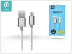 DEVIA adatátvitel adatkábel és USB töltő - USB / Micro USB, 1,5m, 2.1A - SZÜRKE