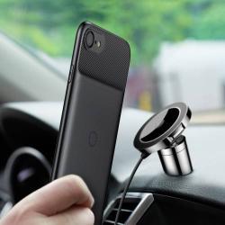 BASEUS szilikon telefonvédõ (vezeték nélküli töltés, QI Wireless, fémlap mágneses autós tartóhoz való rögzítéshez) - FEKETE - APPLE iPhone 7 / APPLE iPhone 8