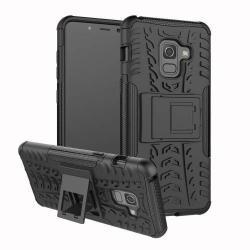 OTT! VROOM műanyag védő tok / hátlap - FEKETE - AUTÓGUMI MINTÁS - szilikon betétes, asztali tartó funkciós, ERŐS VÉDELEM! - SAMSUNG Galaxy A8 (2018)