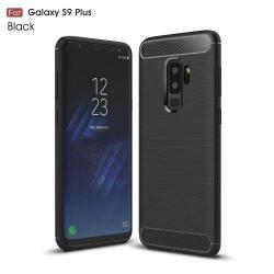 OTT! CARBON szilikon védő tok / hátlap - FEKETE - karbon mintás, ERŐS VÉDELEM! - SAMSUNG SM-G965 Galaxy S9+