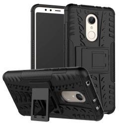 OTT! VROOM műanyag védő tok / hátlap - FEKETE - AUTÓGUMI MINTÁS - szilikon betétes, asztali tartó funkciós, ERŐS VÉDELEM! - Xiaomi Redmi 5