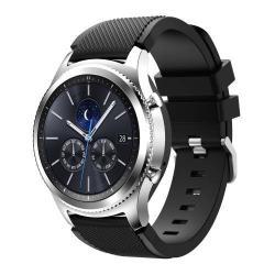 Okosóra szíj - szilikon, Twill mintás - FEKETE - 140mm-től 215mm-es méretű csuklóig ajánlott, 105mm + 92mm hosszú, 20mm széles - SAMSUNG Galaxy Watch 46mm / SAMSUNG Gear S3 Classic / SAMSUNG Gear S3 Frontier