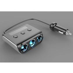Szivargyújtós / autós töltő elosztó - 3db töltő (100W) + 4db USB aljzat, max 3.6A USB-n, 12/24V-ról is használható - FEKETE