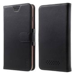 UNIVERZÁLIS notesz / pénztárca tok - FEKETE - extra belsõ zsebekkel, oldalra nyíló, mágneses záródás - 5,5