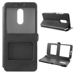 Műanyag védő tok / hátlap - FEKETE - oldalra nyíló s-view cover flip, asztali tartó funkció, mágneses záródás, hívásfelvétel - XIAOMI Redmi Note 5 / XIAOMI Redmi 5 Plus