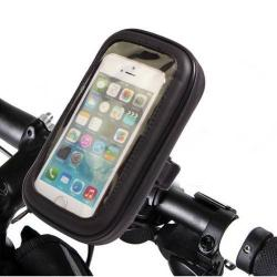 UNIVERZÁLIS biciklis / kerékpáros tartó konzol mobiltelefon készülékekhez - 14 x 7,5 x 2,5 cm-es bölcső, cseppálló védő tokos kialakítás - FEKETE