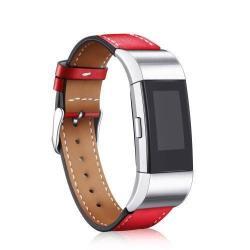 Okosóra szíj - PIROS - valódi bőr - Fitbit Charge 2